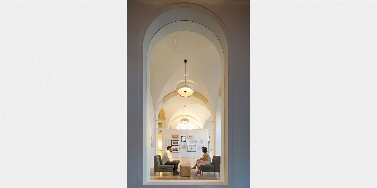 Viso Capella decorative pendants suspended in the groin vaults of the gallery.