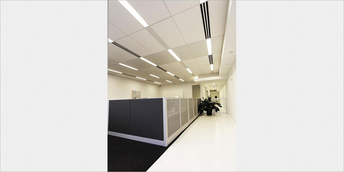 Zumtobel Plateau recessed fluorescent fixtures in the open office.
